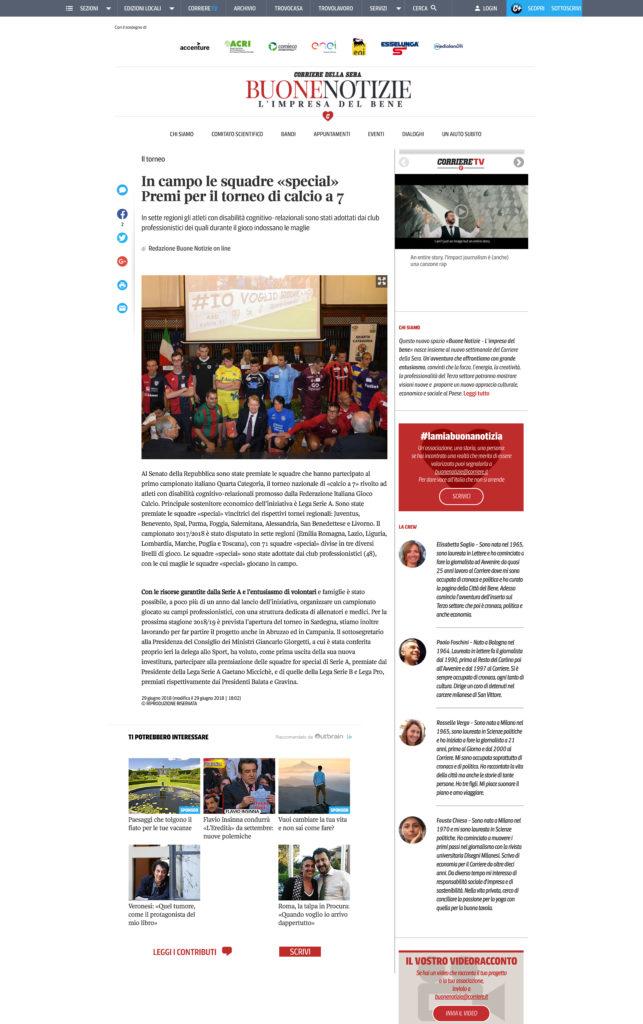 CORRIERE DELLA SERA – BUONE NOTIZIE – 29/06/2018